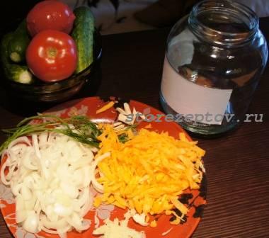 Ингредиенты для овощного зимнего салата