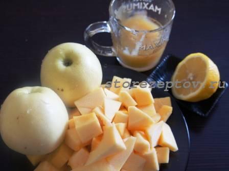Продукты для кабачкового варенья с яблоками
