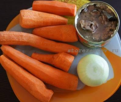 Ингредиенты для рыбно-морковного салата