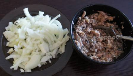 Подготовленная для салата консерва и лук
