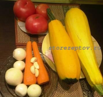 Продукты для приготовления икры из кабачков на зиму