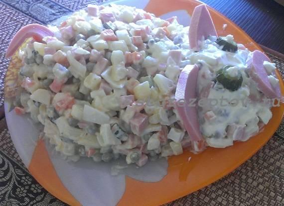 Салат Свинка - вид сбоку