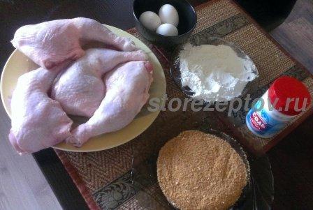 Ингредиенты для приготовления жареных на сковороде окорочков