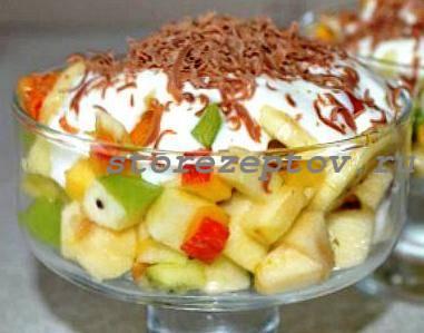 Сладкий фруктовый салат с йогуртом и шоколадом