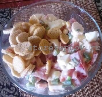 Быстрый рецепт салата с крабовыми палочками