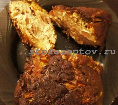 Буженина из свинины со сладким перцем и чесноком