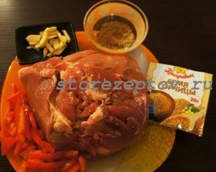 Ингредиенты для приготовления свинины куском в духовке