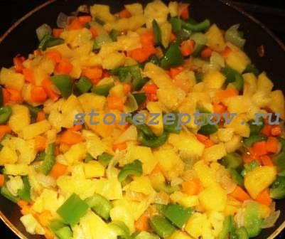 К овощам добавлены ананасы, острый перчик