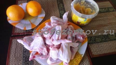 Необходимые ингредиенты для приготовления куриных крыльев в духовке с медом и апельсинами