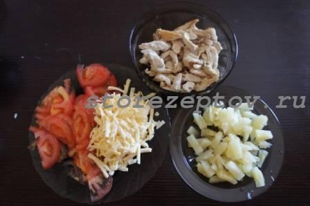 Начинка для пиццы с курицей и ананасами