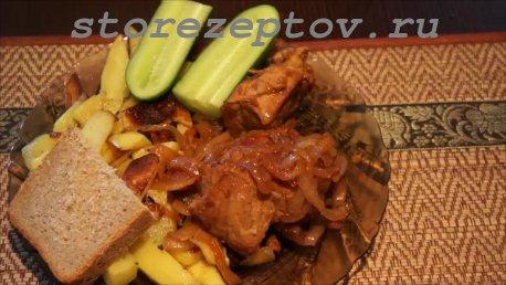 Жаренная свинина с картошкой