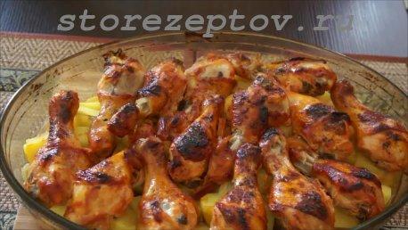 Куриные ножки в медовом соусе в духовке с картошкой: рецепт пошагово с фото