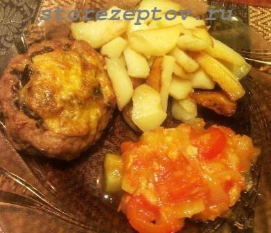 Мясные гнезда из фарша с грибами и сыром в духовке: рецепт с фото пошагово