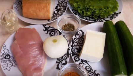 Продукты для салата Хрустящий в сухариками