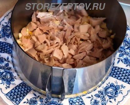 Слой курицы в салате