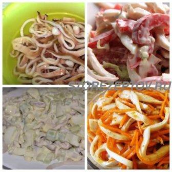Простые салаты из кальмаров
