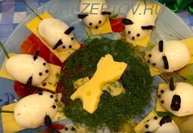 Новогоднее блюдо с Мышками из яиц