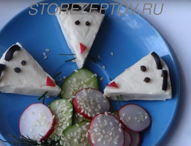 Мыши на Новогодний стол из плавленного сыра