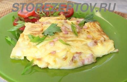 Рецепт омлета с ветчиной и сыром