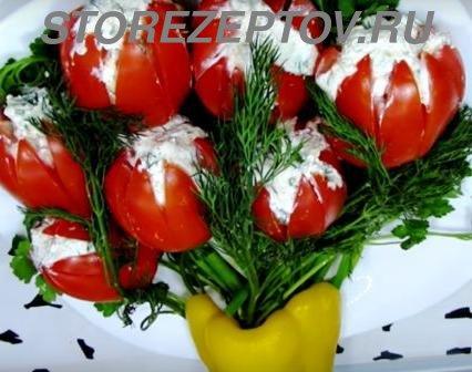 Закуска Тюльпаны с творогом