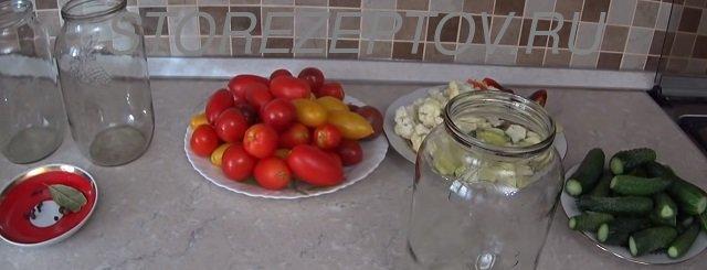 Подготовка к маринованию овощного ассорти на зиму