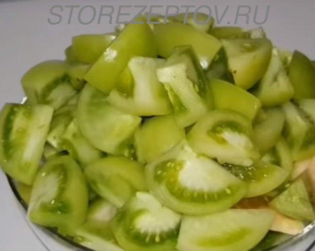 Зеленые помидоры для салата на зиму