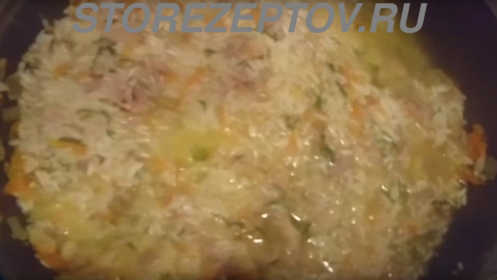 Приготовление тушеного риса с консервой тушенкой