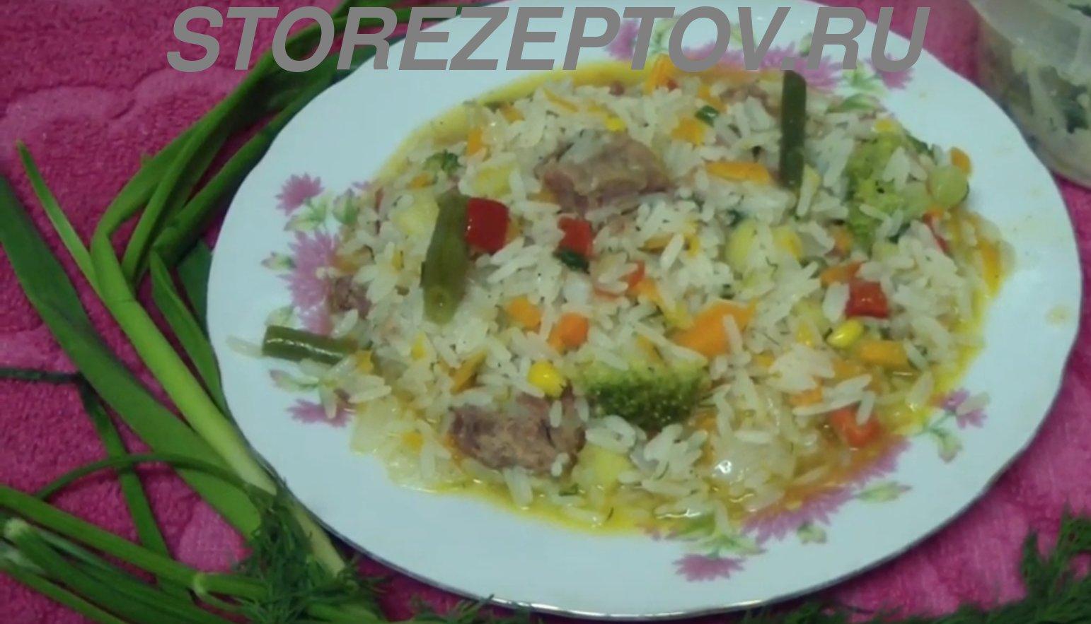 Рецепт риса с овощами и тушенкой