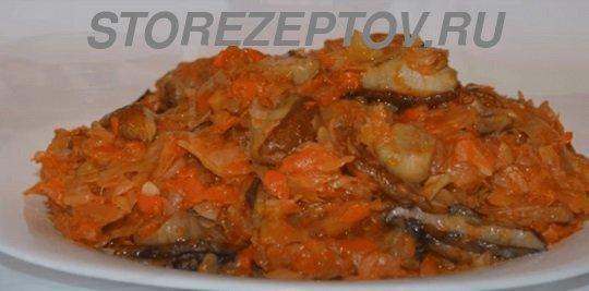 Вкусная тушенная с грибами капуста на зиму