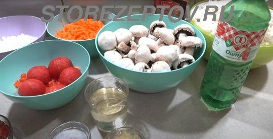 Необходимые ингредиенты для заготовки на зиму из капусты и грибов