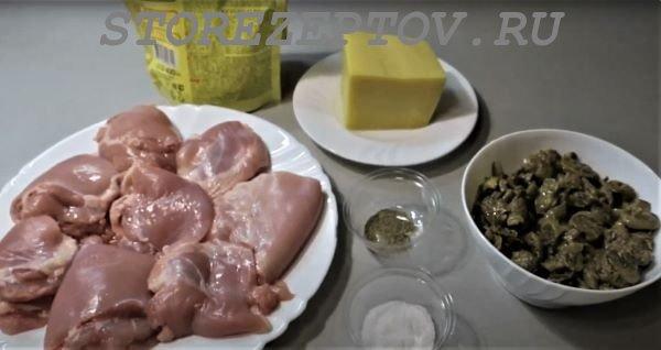 Ингредиенты для приготовления куриных рулетов с грибами