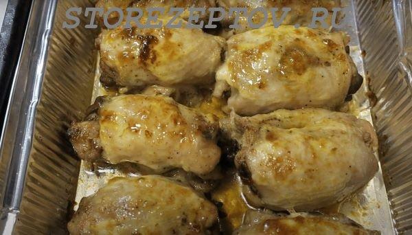 Запекание в духовке куриных бедрышек с грибами внутри