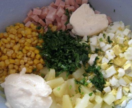 Ингредиенты для ананасового салата