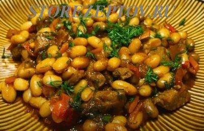 Очень вкусное мясо, тушеное с консервированной фасолью и овощами