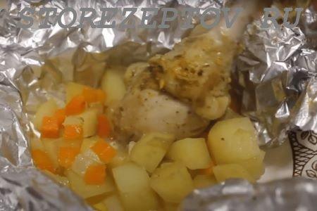 Куриная голень в духовке в фольге: рецепт с картошкой пошаговый с фото и видео